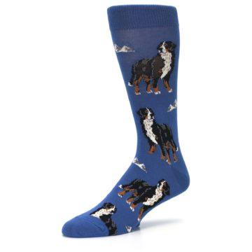 Image of Blue Bernese Dog Men's Dress Socks (side-2-09)