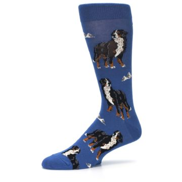 Image of Blue Bernese Dog Men's Dress Socks (side-2-10)