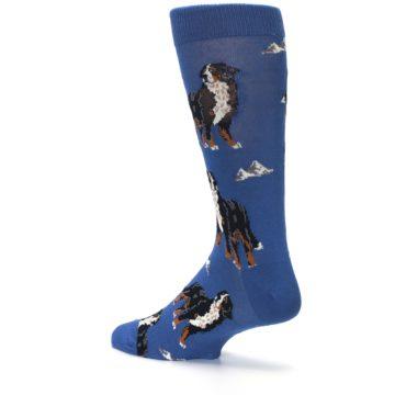 Image of Blue Bernese Dog Men's Dress Socks (side-2-back-14)