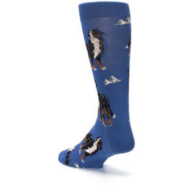 Image of Blue Bernese Dog Men's Dress Socks (side-2-back-15)
