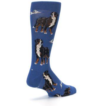 Image of Blue Bernese Dog Men's Dress Socks (side-1-back-22)