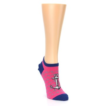 Image of Pink Navy Anchor Women's Ankle Socks (side-1-front-02)