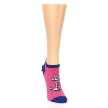 Image of Pink Navy Anchor Women's Ankle Socks (side-1-front-03)