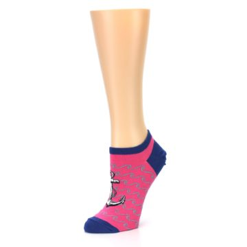 Image of Pink Navy Anchor Women's Ankle Socks (side-2-09)
