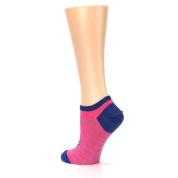 Image of Pink Navy Anchor Women's Ankle Socks (side-2-back-14)