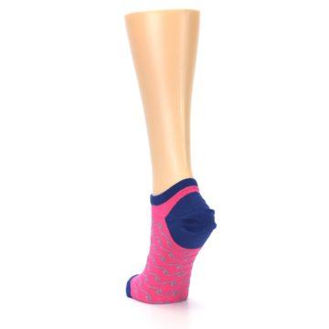 Image of Pink Navy Anchor Women's Ankle Socks (side-2-back-16)