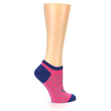 Image of Pink Navy Anchor Women's Ankle Socks (side-1-24)