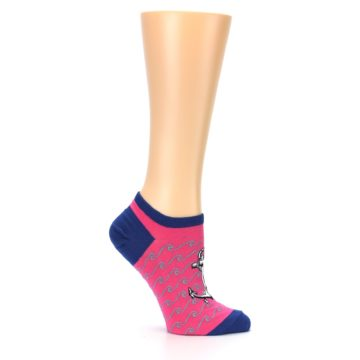 Image of Pink Navy Anchor Women's Ankle Socks (side-1-25)