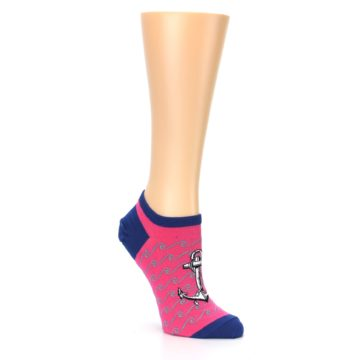 Image of Pink Navy Anchor Women's Ankle Socks (side-1-27)