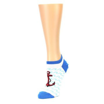 Image of White Blue Red Anchor Women's Ankle Socks (side-2-front-08)