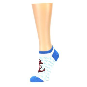 Image of White Blue Red Anchor Women's Ankle Socks (side-2-09)