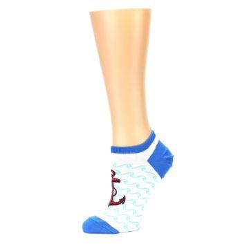 Image of White Blue Red Anchor Women's Ankle Socks (side-2-10)