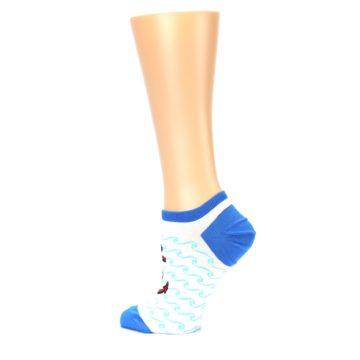 Image of White Blue Red Anchor Women's Ankle Socks (side-2-13)