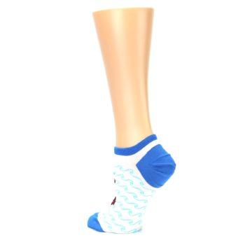 Image of White Blue Red Anchor Women's Ankle Socks (side-2-back-14)