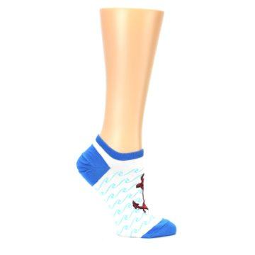 Image of White Blue Red Anchor Women's Ankle Socks (side-1-25)