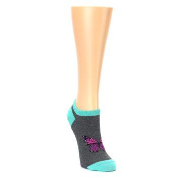 Image of Charcoal Purple Butterfly Women's Ankle Socks (side-1-front-02)