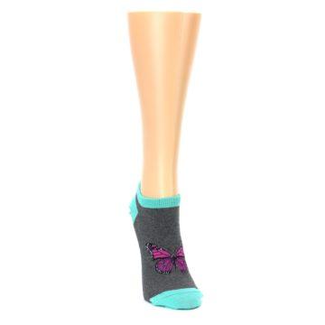 Image of Charcoal Purple Butterfly Women's Ankle Socks (side-1-front-03)