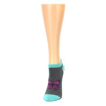 Image of Charcoal Purple Butterfly Women's Ankle Socks (side-2-front-06)