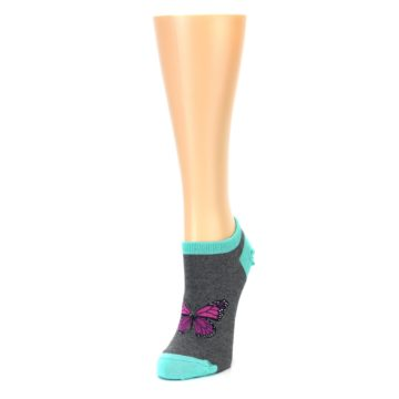 Image of Charcoal Purple Butterfly Women's Ankle Socks (side-2-front-07)