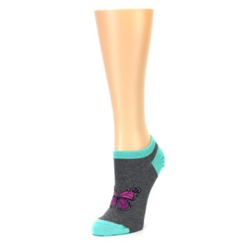 Image of Charcoal Purple Butterfly Women's Ankle Socks (side-2-front-08)