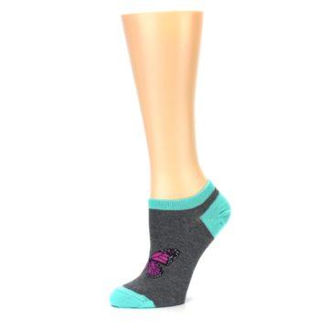 Image of Charcoal Purple Butterfly Women's Ankle Socks (side-2-10)