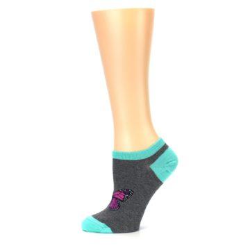 Image of Charcoal Purple Butterfly Women's Ankle Socks (side-2-11)