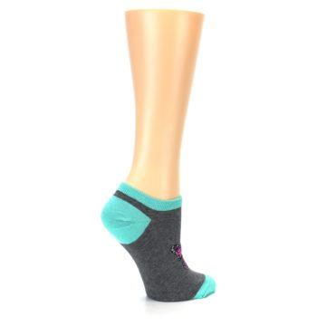 Image of Charcoal Purple Butterfly Women's Ankle Socks (side-1-23)