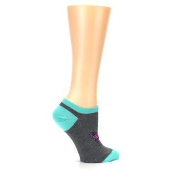 Image of Charcoal Purple Butterfly Women's Ankle Socks (side-1-24)