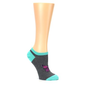 Image of Charcoal Purple Butterfly Women's Ankle Socks (side-1-26)