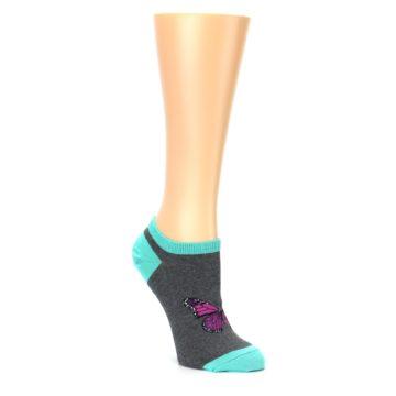 Image of Charcoal Purple Butterfly Women's Ankle Socks (side-1-27)