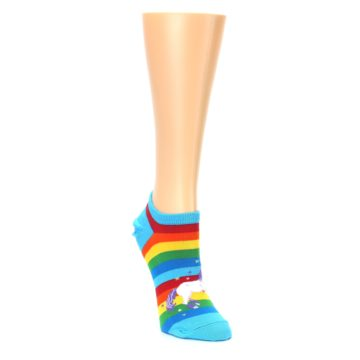 Image of Blue Multicolor Rainbow Unicorn Women's Ankle Socks (side-1-front-02)