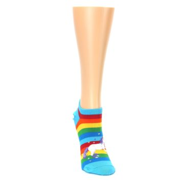 Image of Blue Multicolor Rainbow Unicorn Women's Ankle Socks (side-1-front-03)