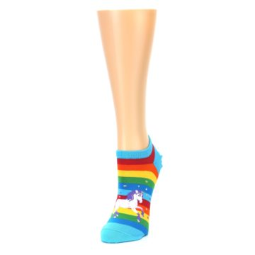 Image of Blue Multicolor Rainbow Unicorn Women's Ankle Socks (side-2-front-07)