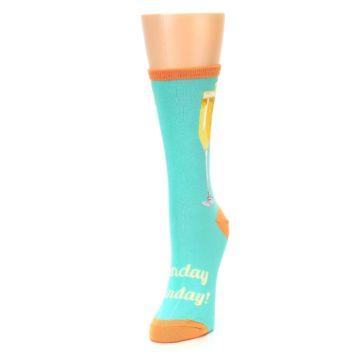 Image of Aqua Mimosa Cocktail Women's Dress Socks (side-2-front-07)