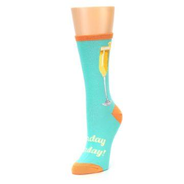 Image of Aqua Mimosa Cocktail Women's Dress Socks (side-2-front-08)