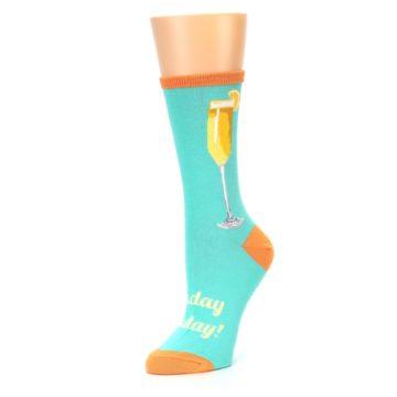 Image of Aqua Mimosa Cocktail Women's Dress Socks (side-2-09)