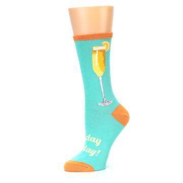 Image of Aqua Mimosa Cocktail Women's Dress Socks (side-2-10)
