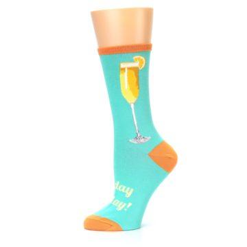 Image of Aqua Mimosa Cocktail Women's Dress Socks (side-2-11)