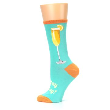 Image of Aqua Mimosa Cocktail Women's Dress Socks (side-2-12)