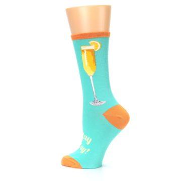 Image of Aqua Mimosa Cocktail Women's Dress Socks (side-2-13)