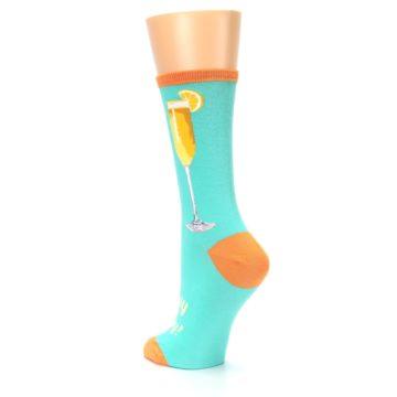 Image of Aqua Mimosa Cocktail Women's Dress Socks (side-2-back-15)