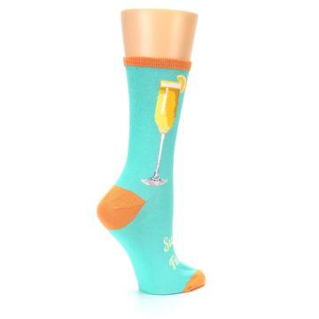 Image of Aqua Mimosa Cocktail Women's Dress Socks (side-1-23)