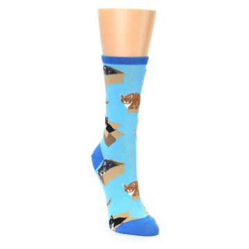 Image of Blue Cats In a Box Women's Dress Socks (side-1-front-02)