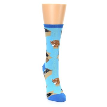 Image of Blue Cats In a Box Women's Dress Socks (side-1-front-03)