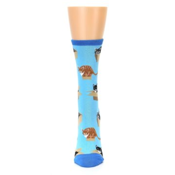 Image of Blue Cats In a Box Women's Dress Socks (front-05)