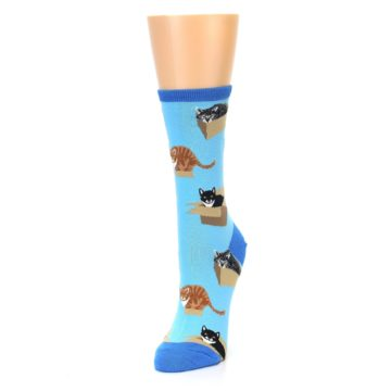 Image of Blue Cats In a Box Women's Dress Socks (side-2-front-07)