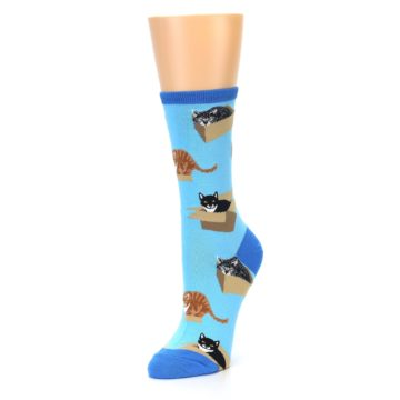 Image of Blue Cats In a Box Women's Dress Socks (side-2-front-08)