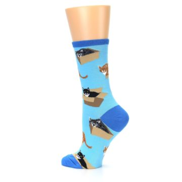 Image of Blue Cats In a Box Women's Dress Socks (side-2-13)