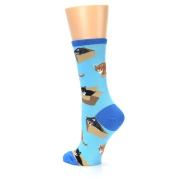 Image of Blue Cats In a Box Women's Dress Socks (side-2-back-14)