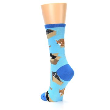 Image of Blue Cats In a Box Women's Dress Socks (side-2-back-15)
